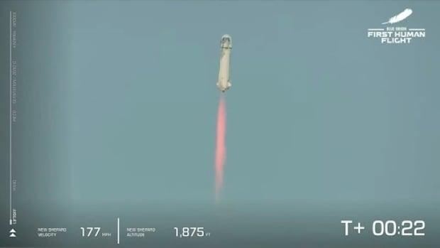 Jeff Bezos maakt de eerste passagiersvlucht van het bedrijf naar de ruimte en terug