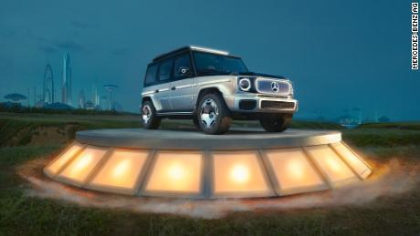De Mercedes-Benz EQG Concept SUV ontleent zijn stijl aan de populaire Mercedes-Benz G-klasse SUV.
